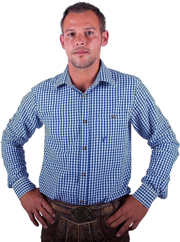 Almwerk Herren Trachten Hemd kariert Modell Ottmar 100% Baumwolle in Rot, Tanne, Schwarz, Dunkelblau, Hellgrün, Bordeaux, Hellblau und Braun