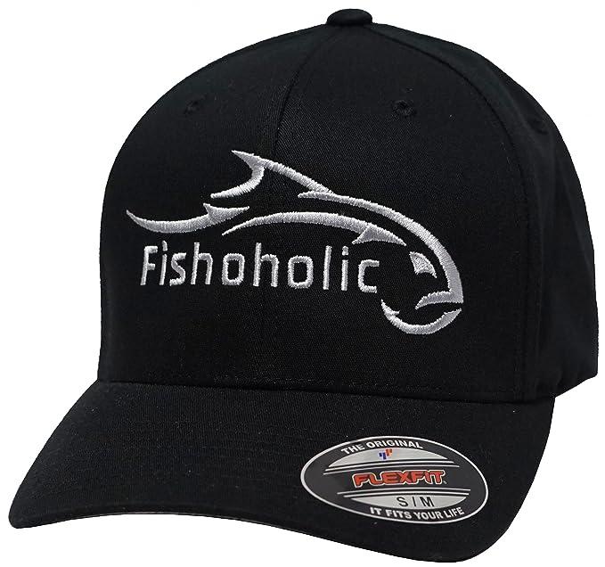48696bc9 Amazon.com : Fishoholic Baseball Fishing Hat ~ 6 Colors & 3 Sizes. Fish  Logo on Trucker Snap Back or Flexfit ~ Fishaholic Reg Trademark ~ Great  Gift Ocean ...
