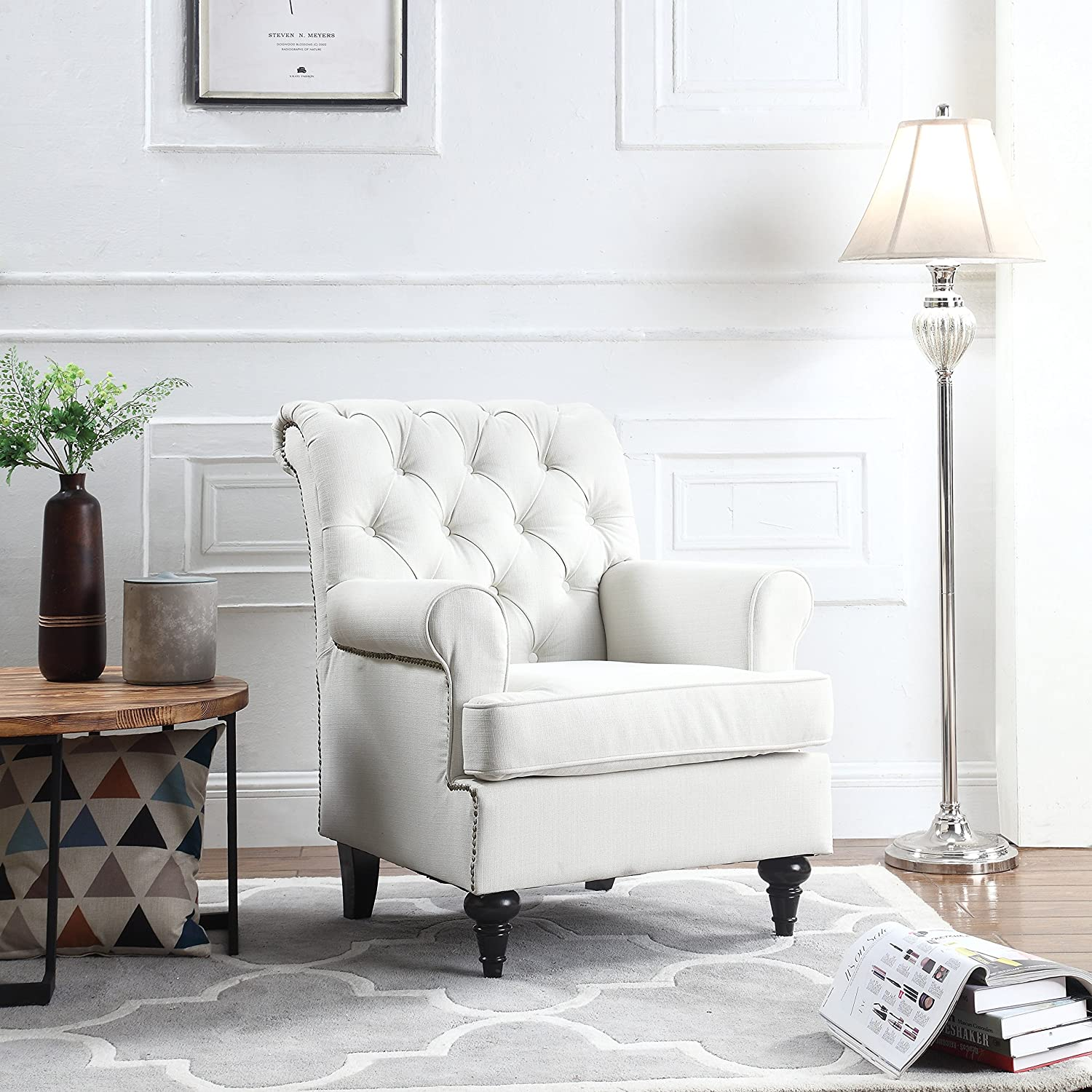 Amazon.com: Classic Tufted Scroll Arm Chesterfield Linen Fabric ...