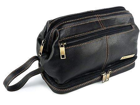 61e4d0a01b1e Mens Rowallan Black Leather Top Frame Wash Bag Travel Toiletries Travel  Stylish  Amazon.co.uk  Luggage