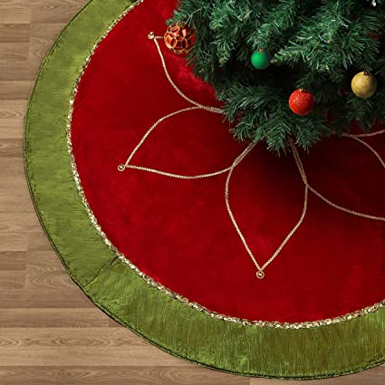 Valery Madelyn 48 Traditional Red Green And Gold Christmas Tree Skirt With Flower Design Themed With Christmas Ornaments Not Included