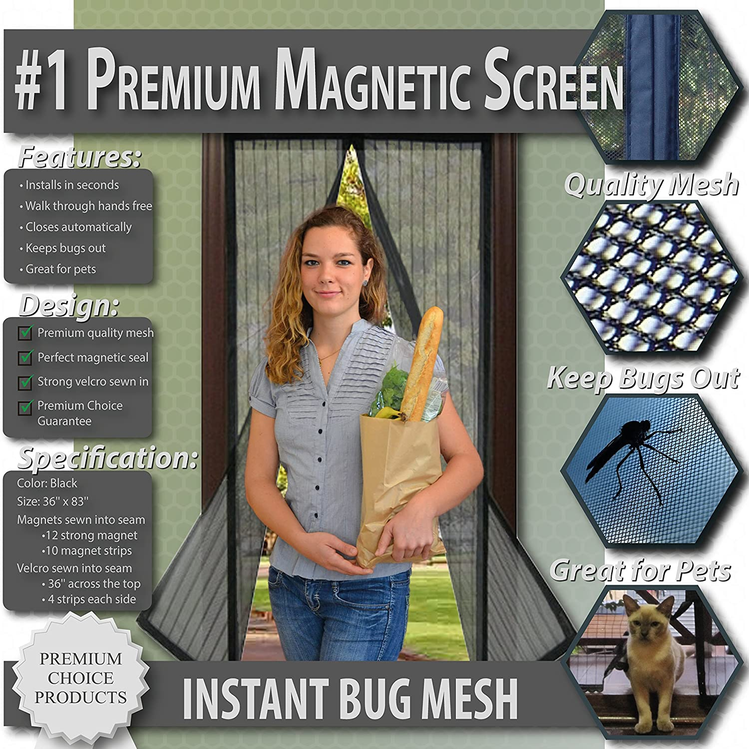 Premium magnetic screen door keep bugs out let fresh air in premium magnetic screen door keep bugs out let fresh air in instant mosquito insect and fly screen with magic magnetic closure vtopaller Images