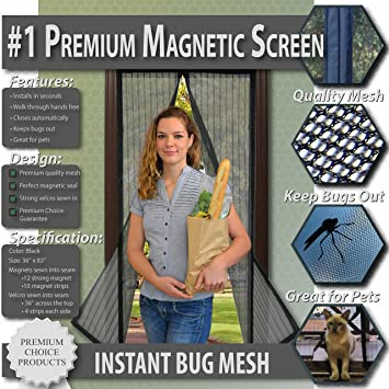 Premium Magnetic Screen Door - KEEP BUGS OUT, Let Fresh Air In ...