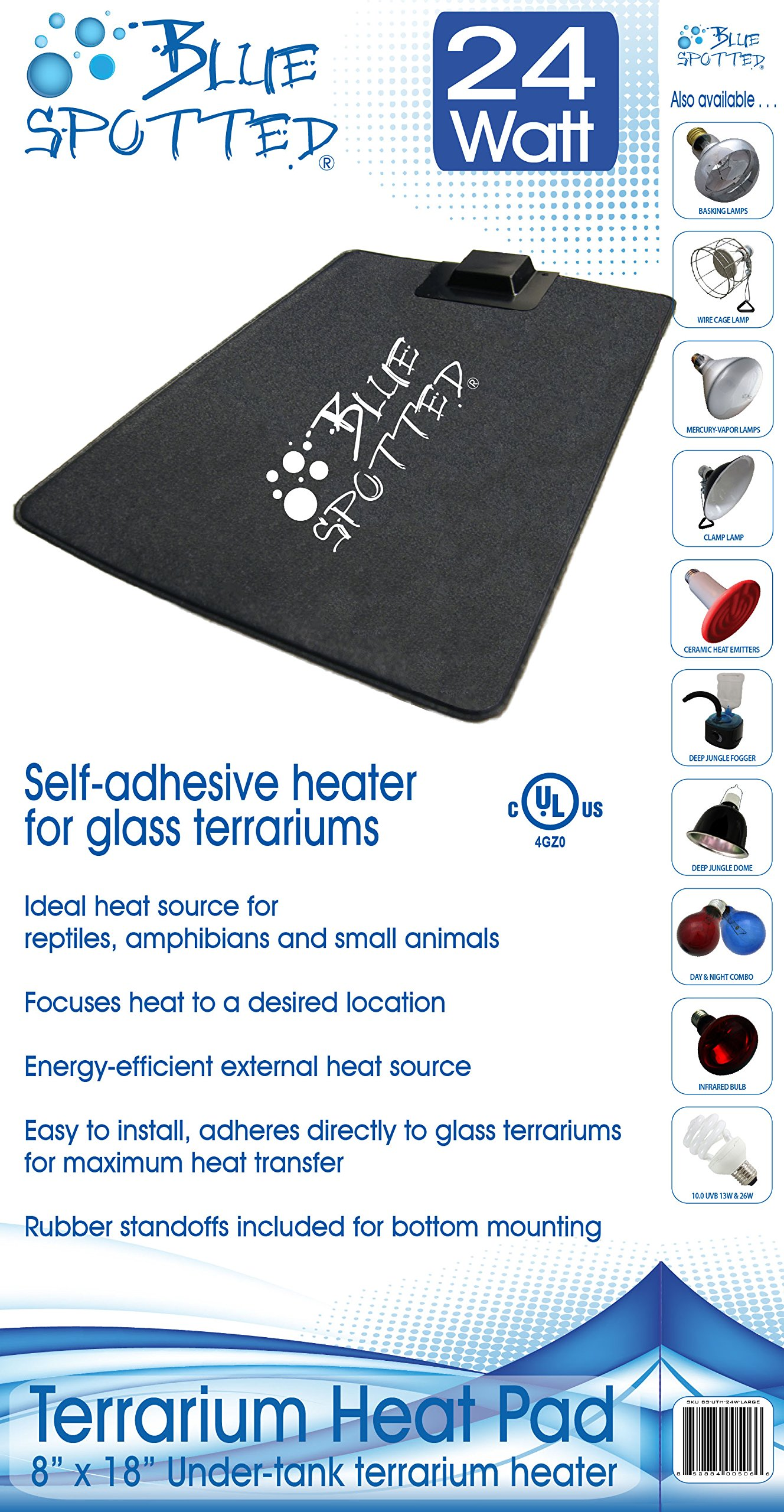 4 Pack Of Blue Spotted Under Tank Heater, Large, For Reptiles, Amphibians & Small Animals & Use with Glass Terrariums - Size Large - 8'' x 18'' - No Hassle Packaging