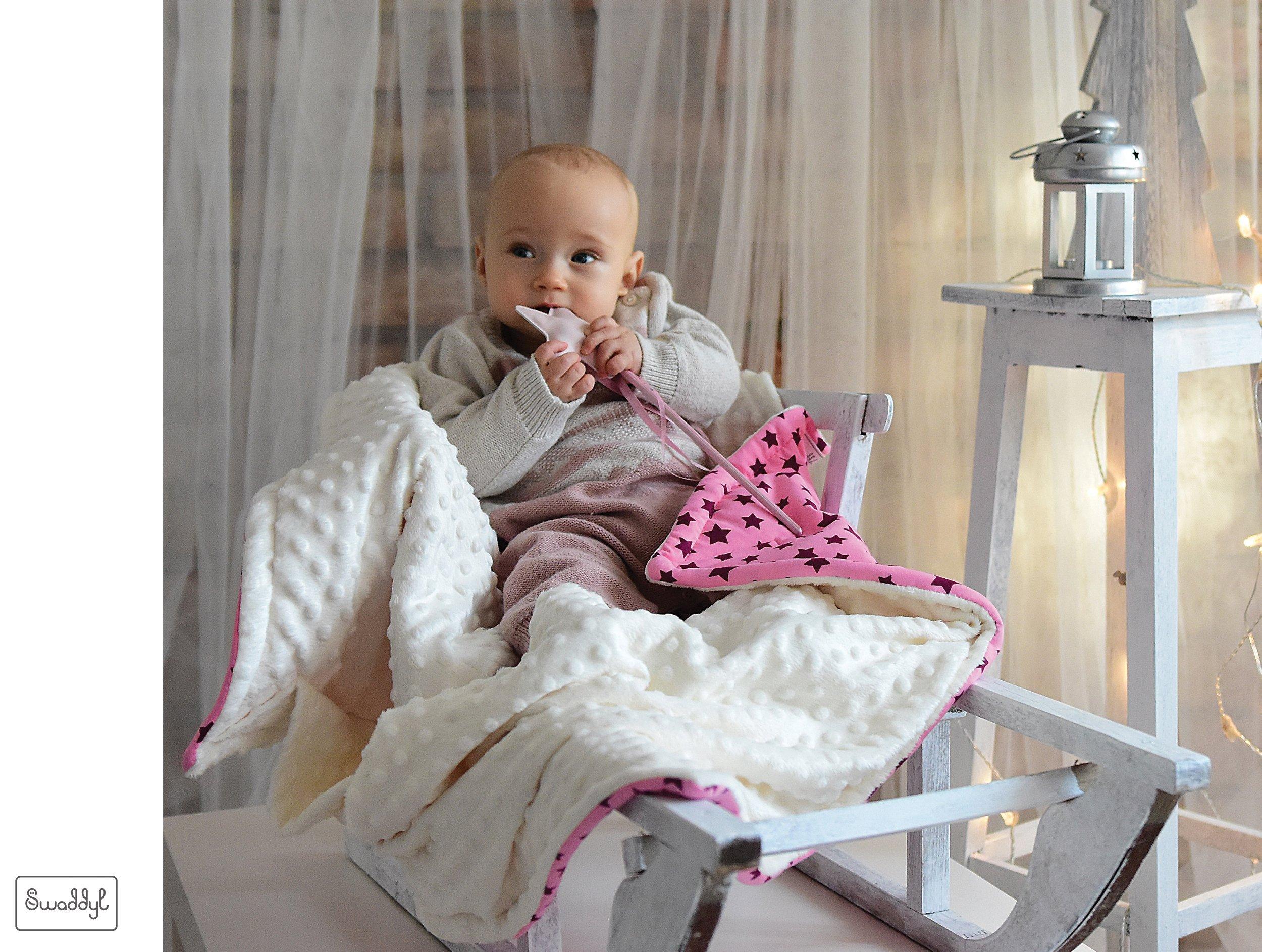 SWADDYL Baby girl swaddle blanket I car seat I stroller I hooded I bunting I newborn I Minky plush and cotton I Made in Europe (RoseHeart) by Swaddyl (Image #4)