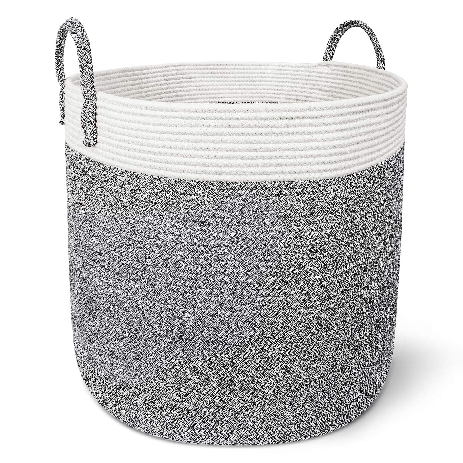 "X-Large Cotton Rope Basket – 18""x18"" Decorative Woven Basket for Laundry, Baby, Blanket, Home Storage Container (Grey)"
