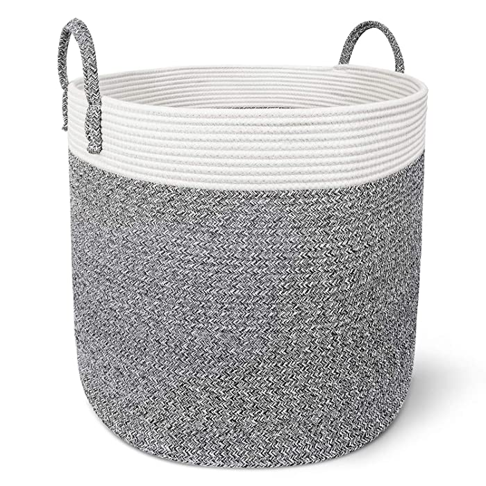 """X-Large Cotton Rope Basket – 18""""x18"""" Decorative Woven Basket for Laundry, Baby, Blanket, Home Storage Container (Grey)"""
