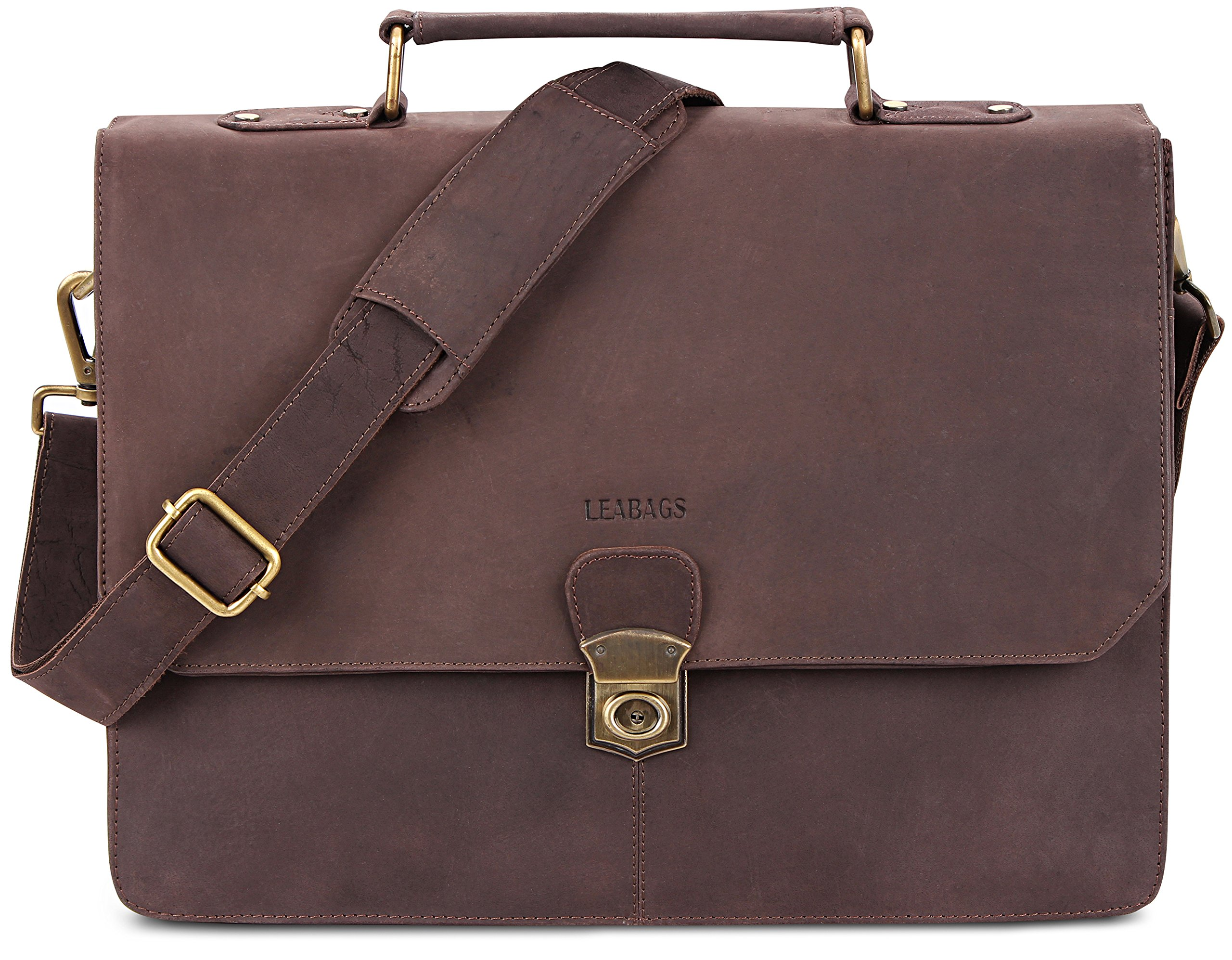 LEABAGS Brandon genuine buffalo leather briefcase in vintage style - Nutmeg