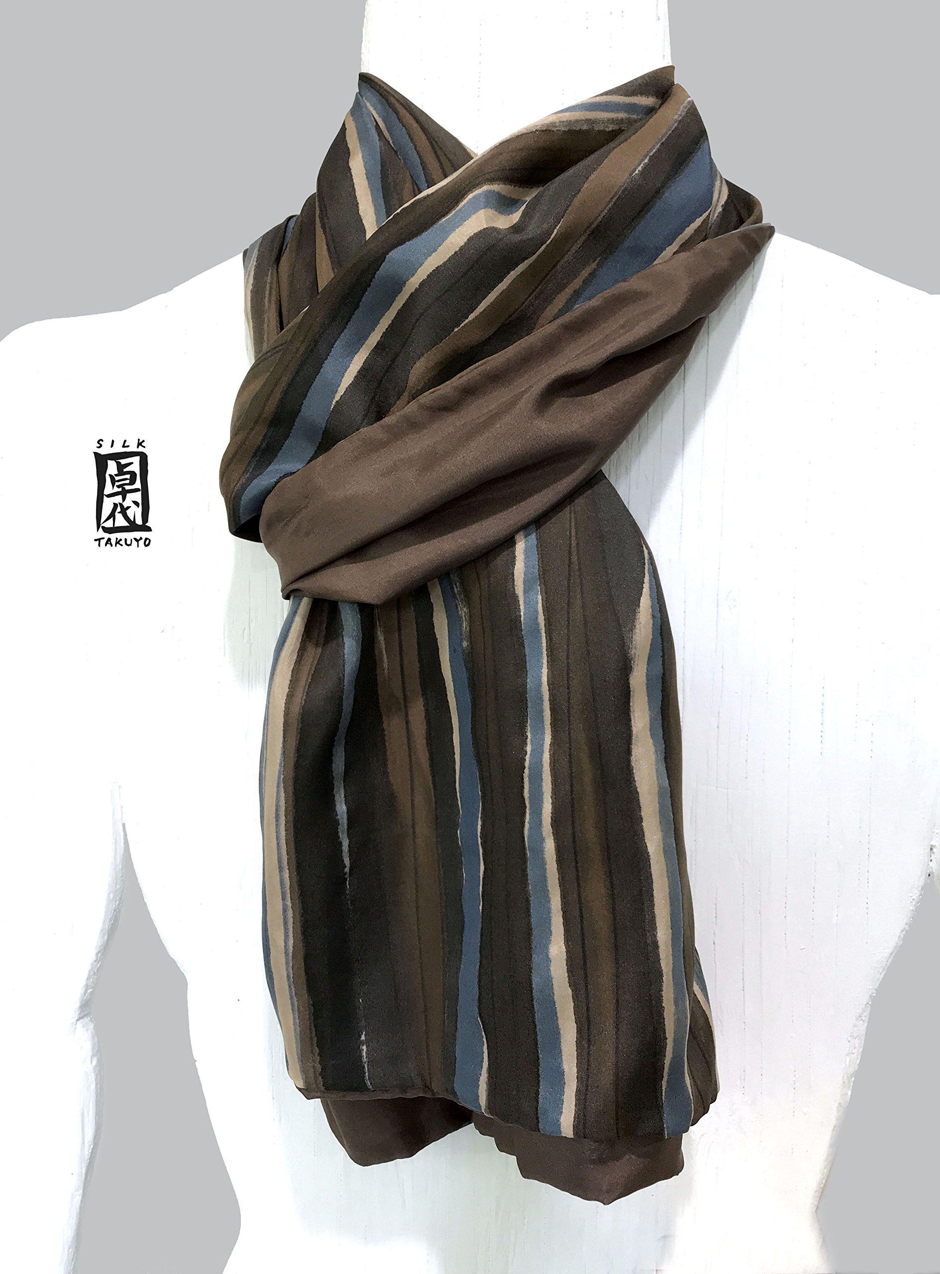 Silk Scarf Men, Hand Painted, Brown Scarf, Reversible Mens Silk Scarf, Zen Stripe, Reversible Scarf
