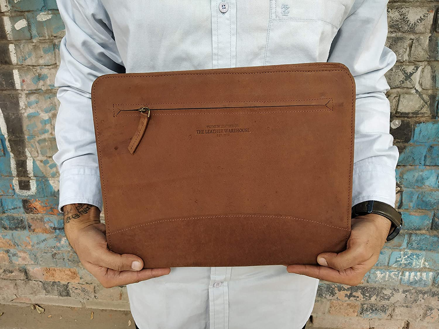 Document Organizer  Folder for Men Women for Interview Zippered Leather Business Portfolio Padfolio Office Professional A4 Size Compatible with 11 inch Tablet ipad Handmade Crunch TAN by TLWH