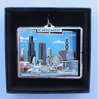Amazon.com: Kurt Adler Chicago Glass Cityscape, Christmas ...