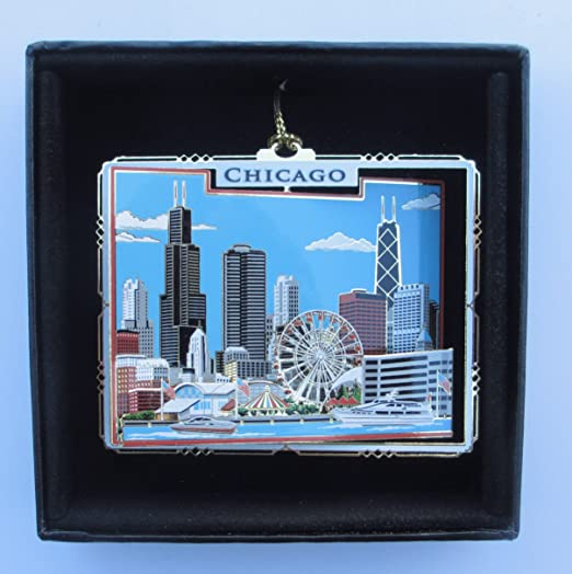 Chicago Brass Christmas Ornament Black Leatherette Gift Box