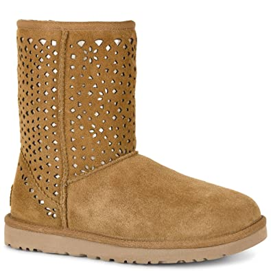 Womens Boots UGG Classic Short Flora Perf Chestnut Water Resistant Suede