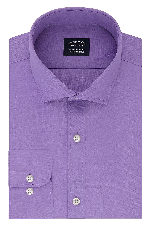 Arrow 1851 Mens Standard Dress Shirt Poplin Xtreme Slim Fit Spread Collar 26W5844