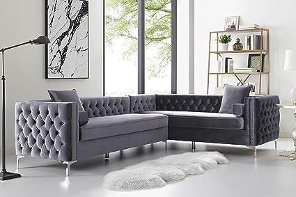 Inspired Home Grey Corner Sectional Sofa - Design: Giovanni | 120\