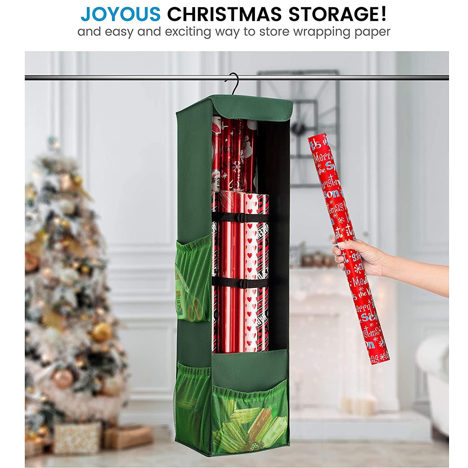 Zober Christmas Hanging Gift Wrap Organizer Stores Up To 20 Rolls ...