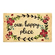DII CAMZ11130 Indoor/Outdoor Natural Coir Easy Clean PVC Non Slip Backing Entry Way Doormat for Patio, Front, Weather Exterior Doors, 18x30, Our Our Happy Place
