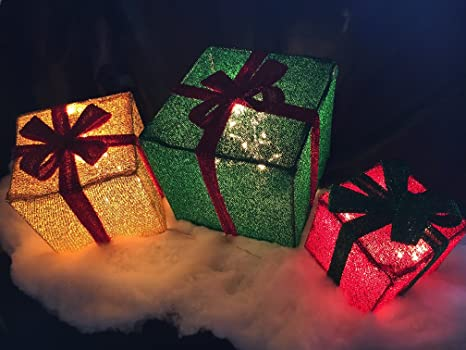 3pc lighted tinsel christmas gift boxes presents outdoor christmas decor - Outdoor Lighted Tinsel Christmas Decorations