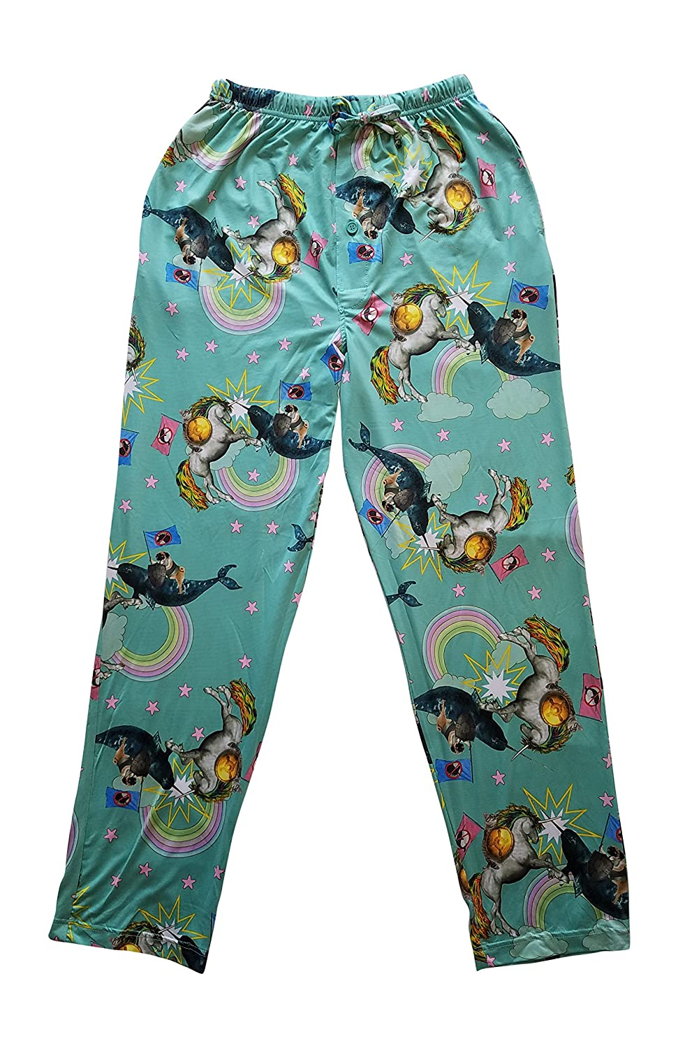 Top Drawer Men's Sleep Lounge Pants Cat Riding Unicorn BATTLING Pug Riding Narwhal Under a Rainbow