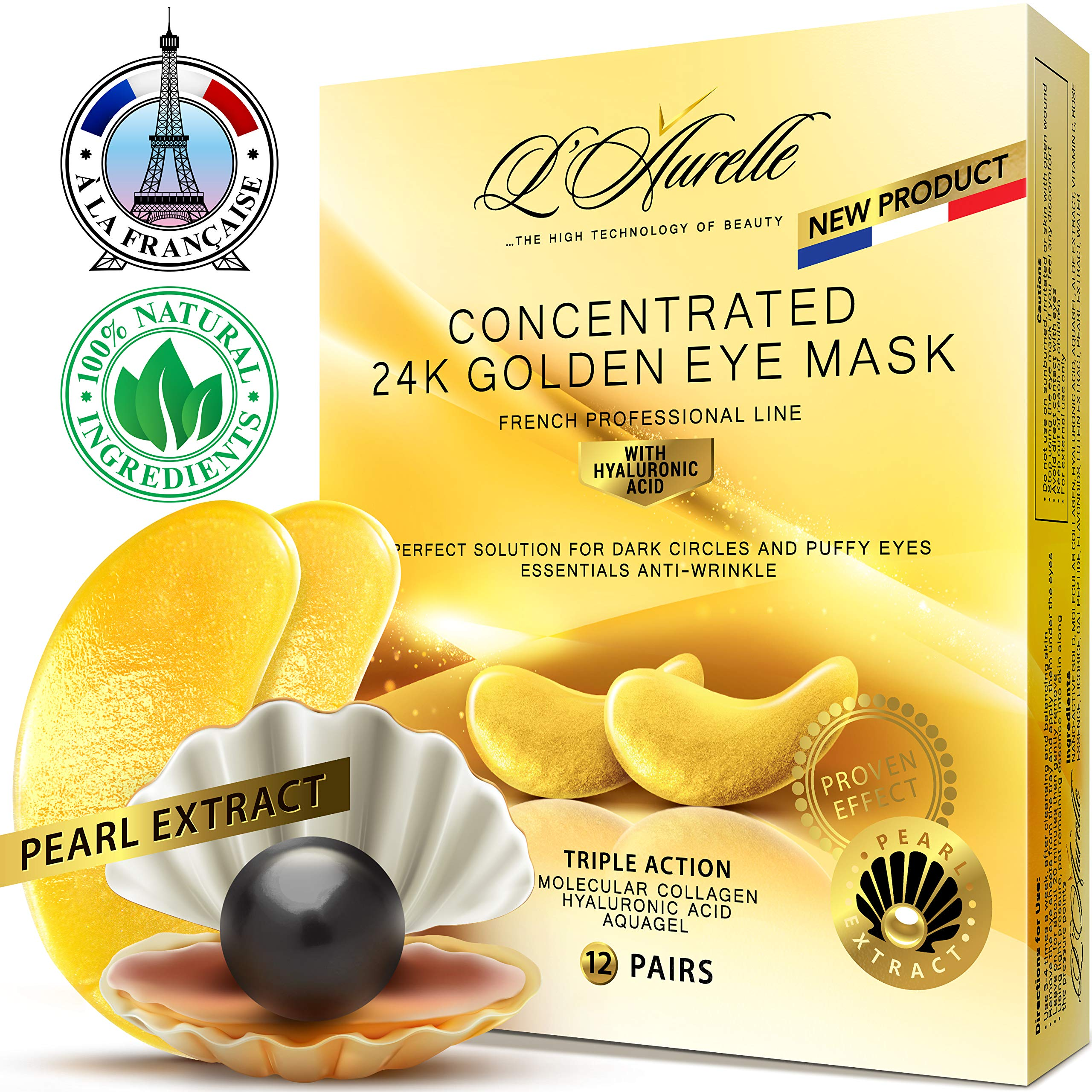 Gold Eye Mask Pearl Extract Under Eye Mask Anti-Aging Hyaluronic Acid 24k Gold Eye Patches Collagen Eye Mask Under Eye Pads for Moisturizing & Reducing Dark Circles Puffiness Wrinkles