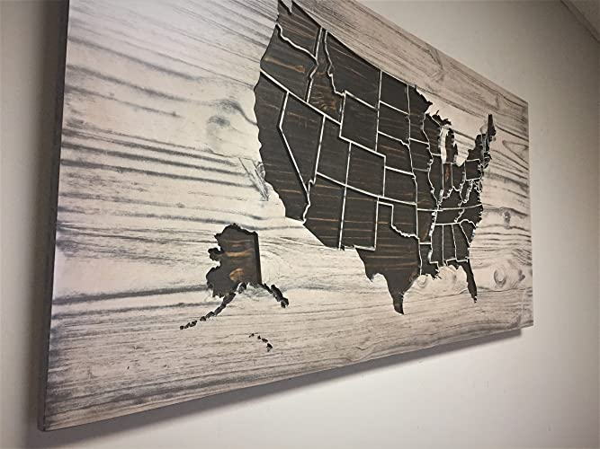 wood wall art wooden map united states map art vintage map decor