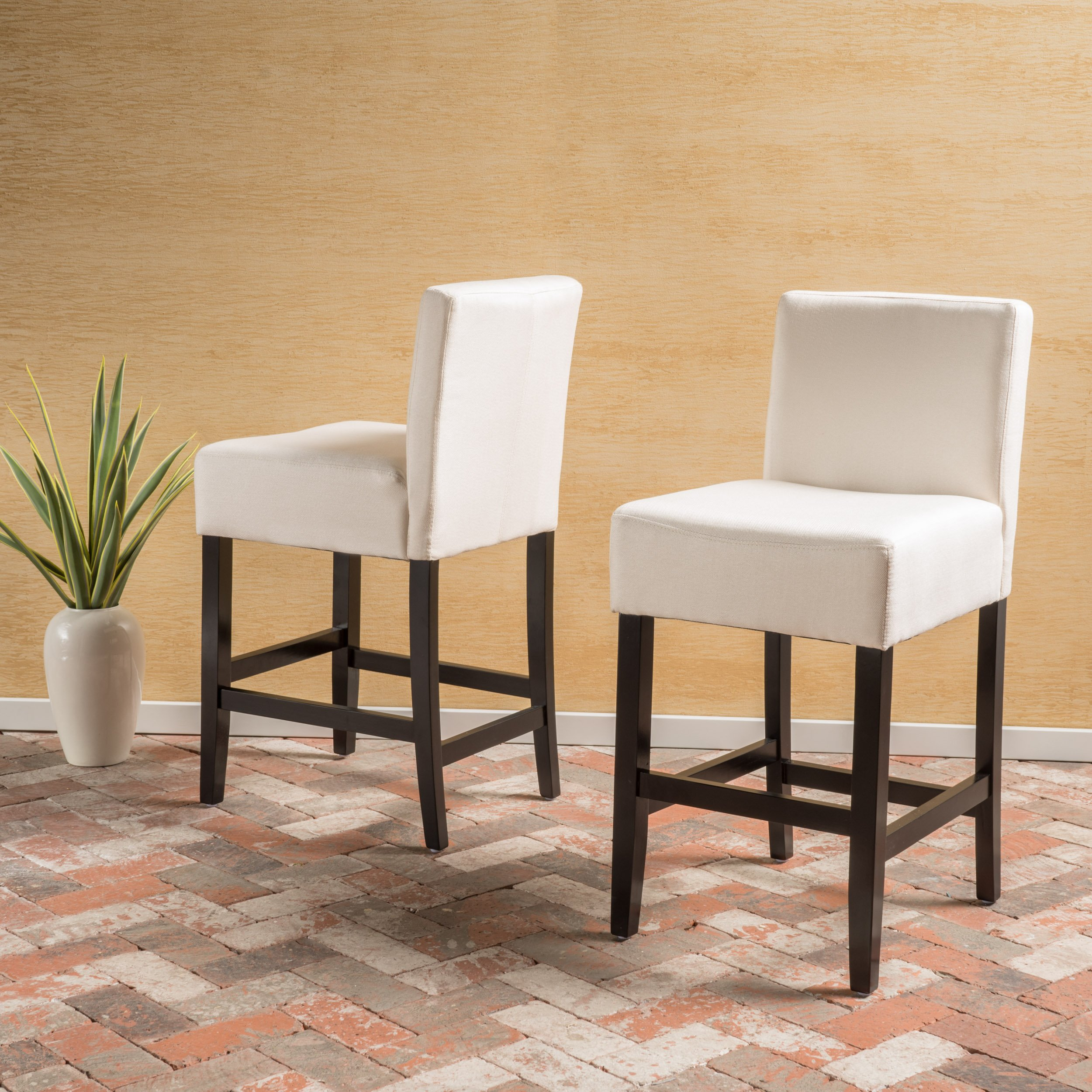 Christopher Knight Home 299486 Lopez Beige Fabric Counter Stool (Set of 2),