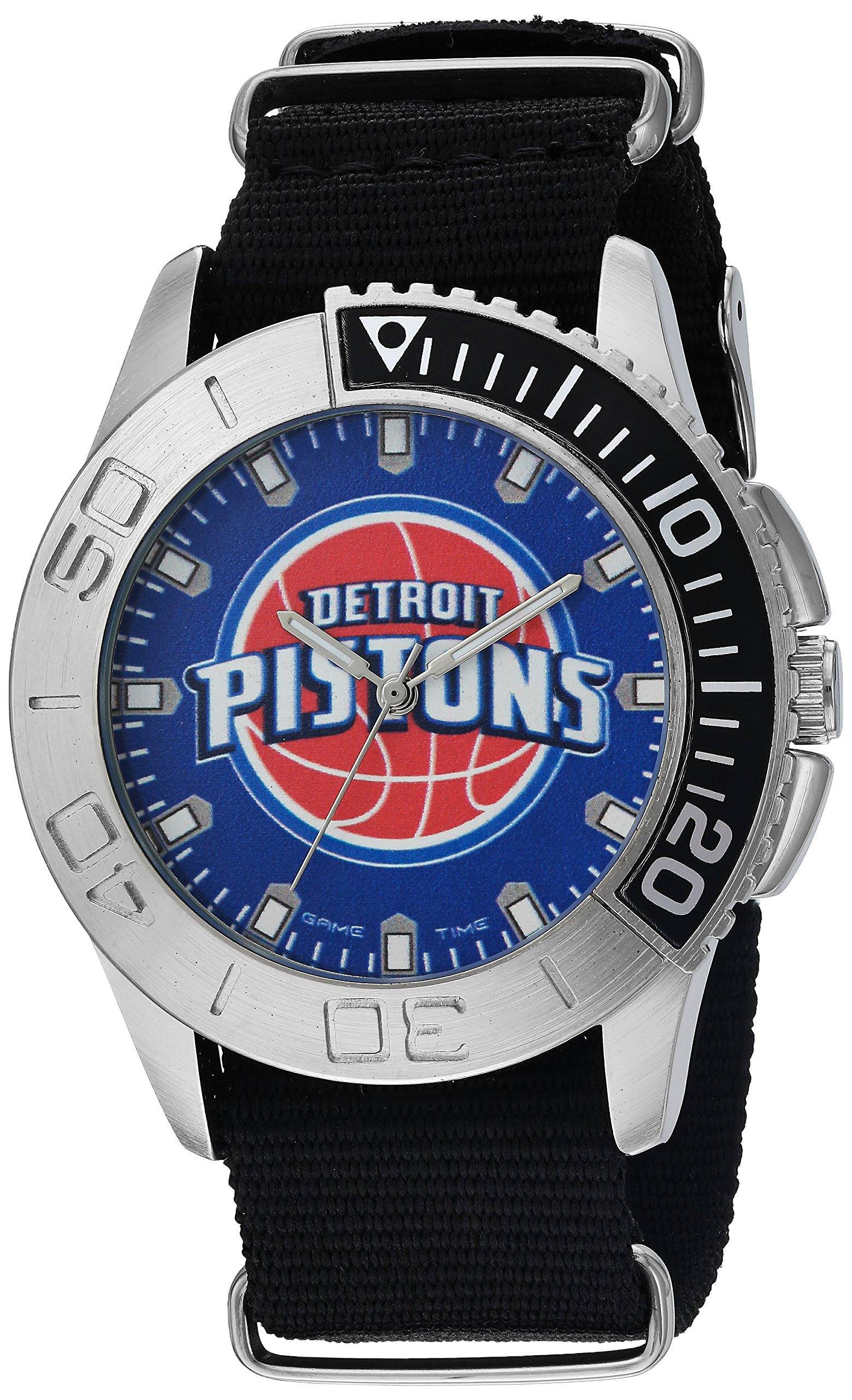 Game Time Men's 'Starter'  Metal and Nylon Quartz Analog  Watch, Color:Black (Model: NBA-STA-DET)