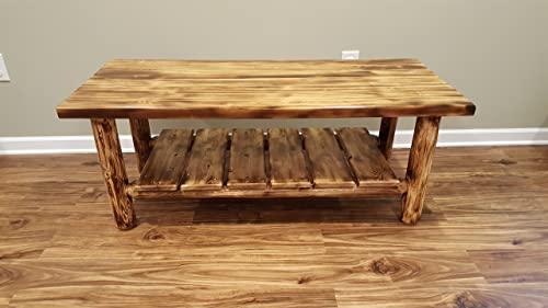 Midwest Log Furniture – Torched Cedar Log Coffee Table