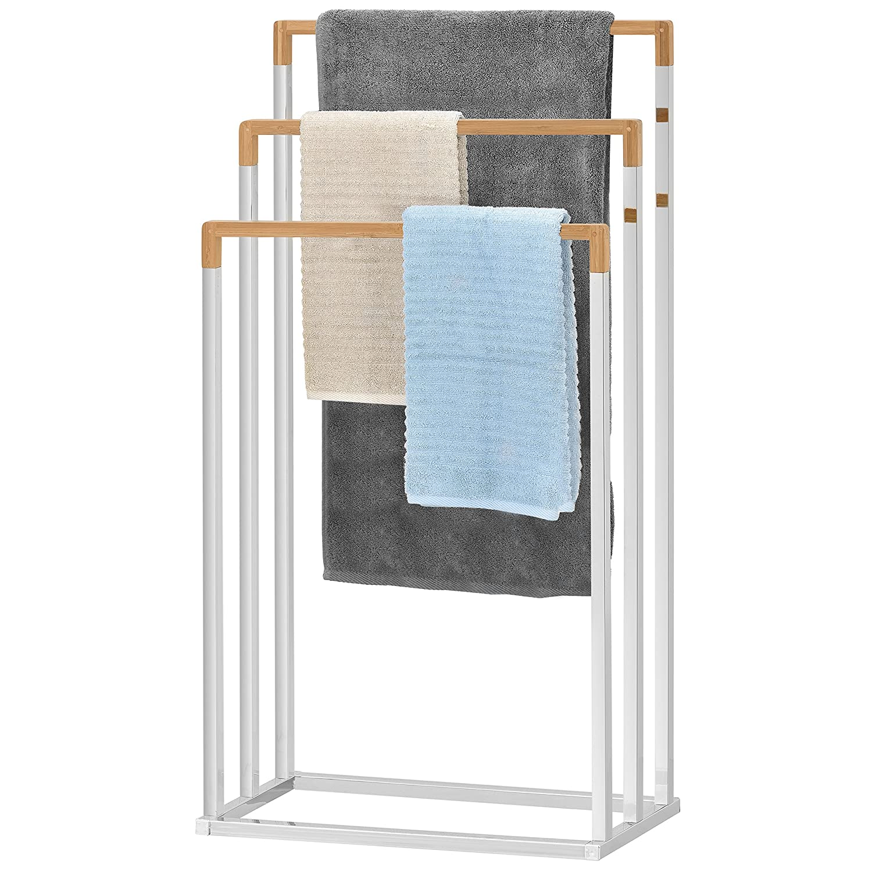 MyGift Freestanding Chrome Plated 3-Tier Bamboo Towel Bar, Bathroom Towel Rack TB-BATH0099BEI