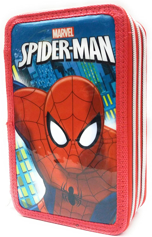 Estuche Escolar 3 cremallera Original Marvel Spiderman – Completo de 44 piezas: Amazon.es: Oficina y papelería