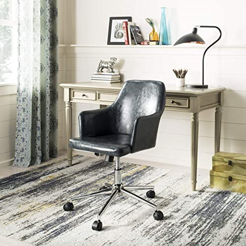 Safavieh Home Cadence Dark Grey Faux Leather and Chrome Swivel Office Chair