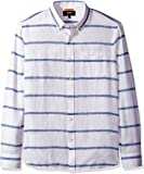 Jack Spade Men's Long Sleeve Linen Horizontal Stripe Shirt