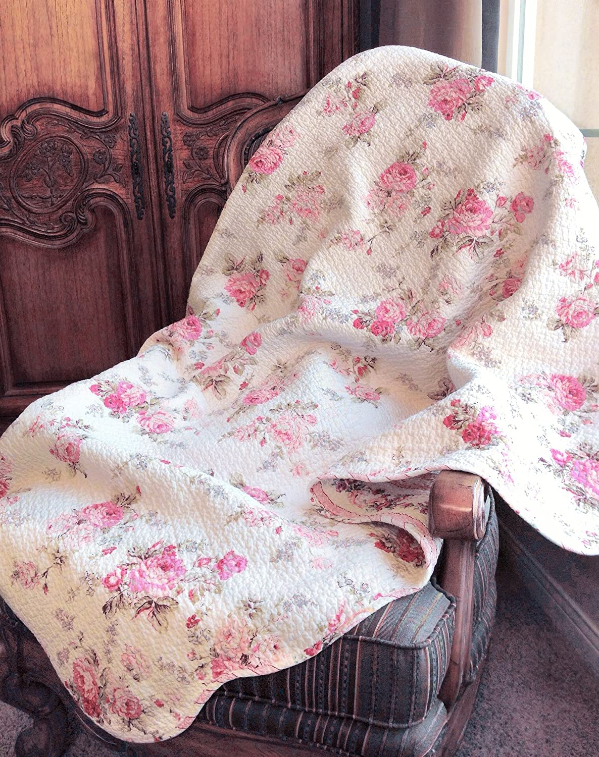 Romantic Spring Peony Shabby Chic Pink Ivory Floral Reversible Quilted Throw Blanket