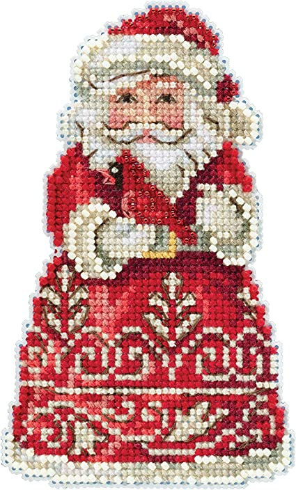 Santa with Cardinal Counted Cross Stitch Ornament Kit Mill Hill 2019 Jim Shore JS201913