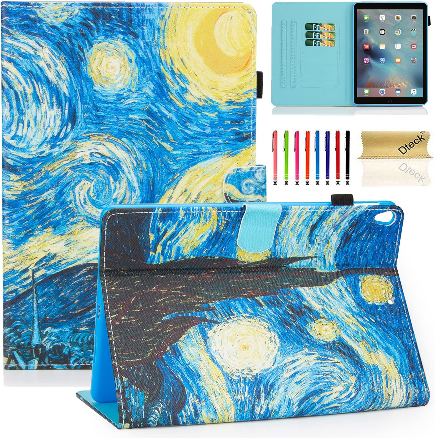 """Dteck iPad 10.5 Inch Case with [Stylus Pen], Nice Cute Flip Folio Smart Stand Case Support [Auto Sleep Wake] PU Leather Pocket Magnetic Cover for Apple iPad Pro 2017 / iPad Air 2019 10.5""""-Starry Night"""