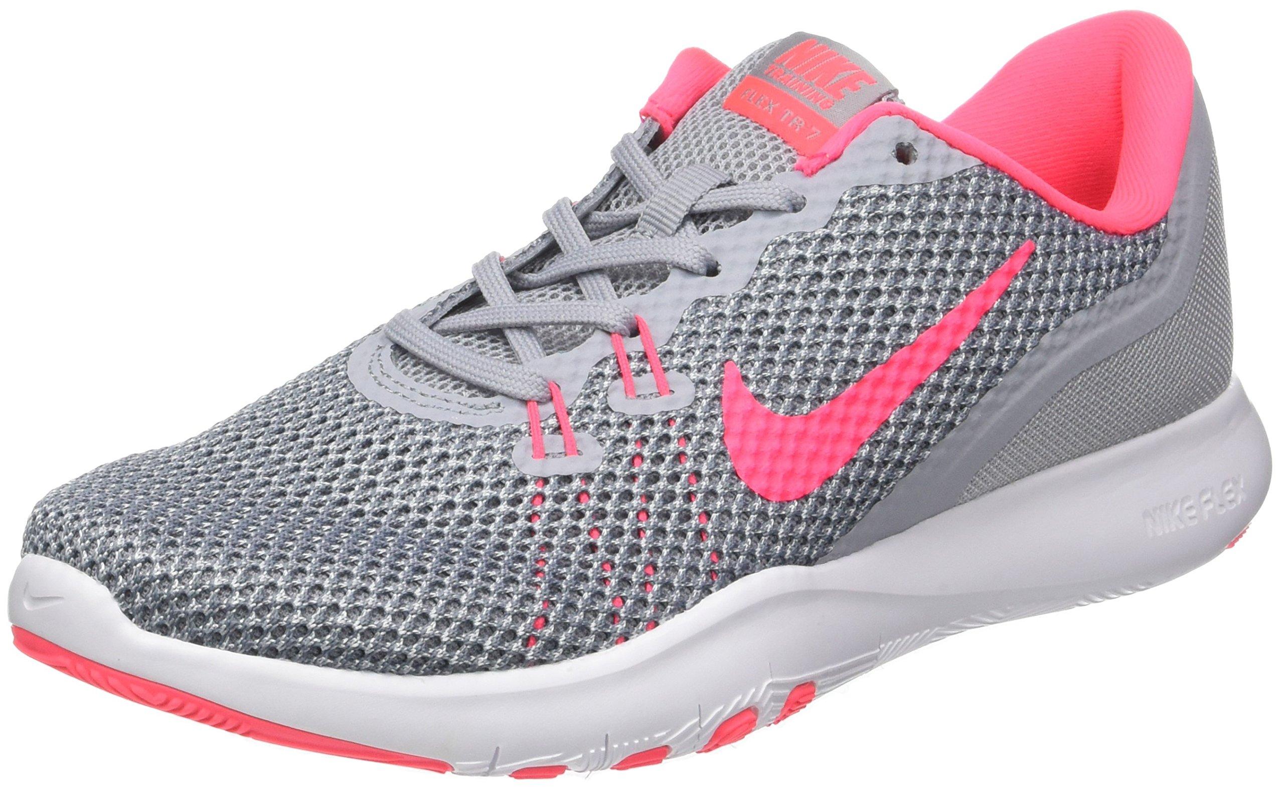 NIKE New Women's Flex Trainer 7 Cross Trainer Grey/Racer Pink 10