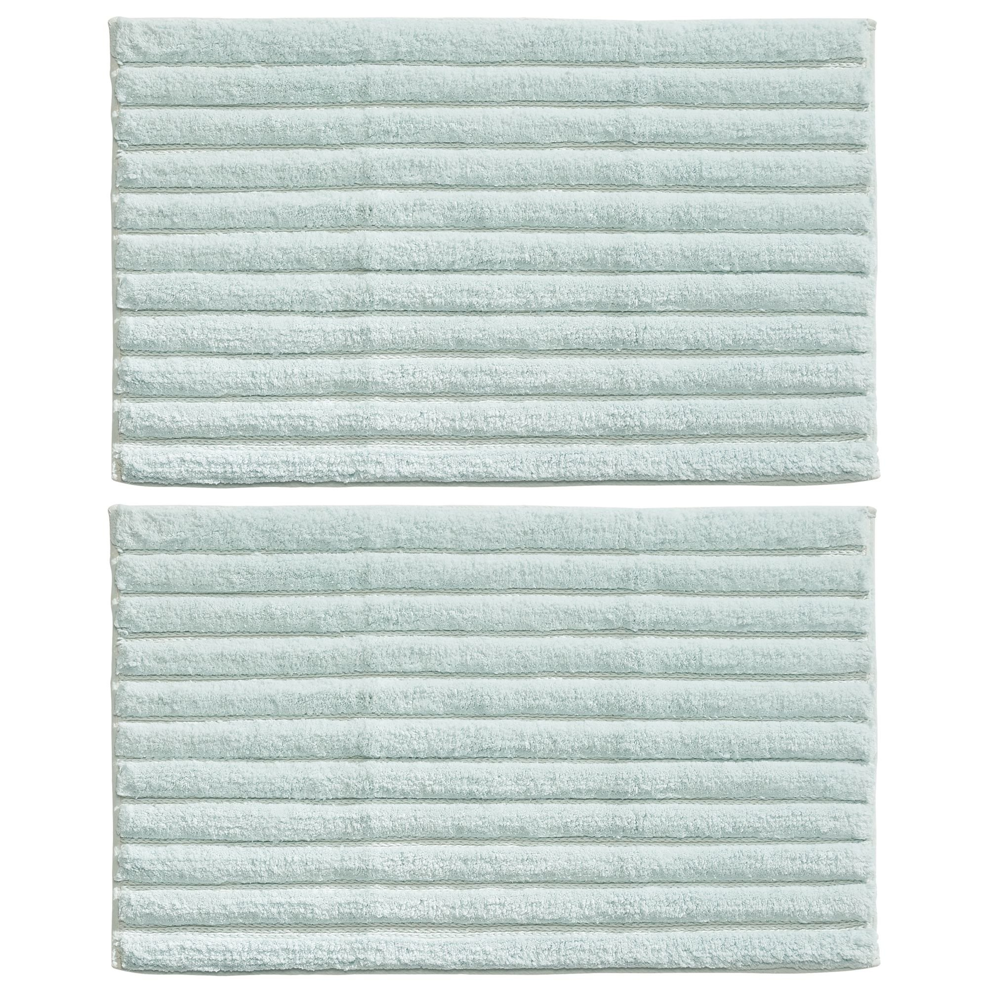 mDesign Soft 100% Cotton Luxury Hotel-Style Rectangular Spa Mat Rug, Plush Water Absorbent, Ribbed Design - for Bathroom Vanity, Bathtub/Shower, Machine Washable - 34'' x 21'' - Pack of 2, Water