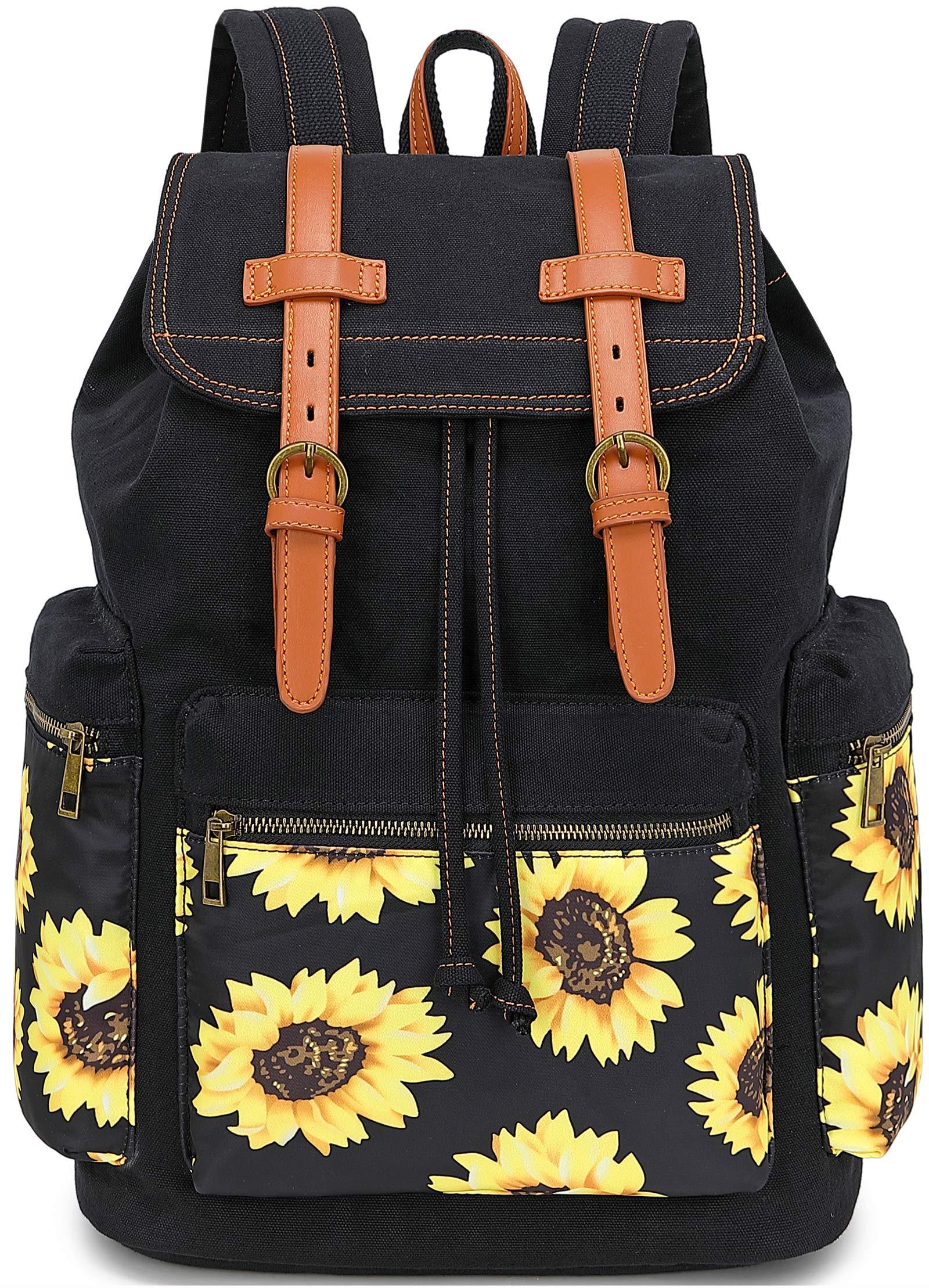 Girls School Backpack Women College Bookbag Lady Travel Rucksack 15.6Inch Laptop Bag (Black Sunflower) by BLUBOON
