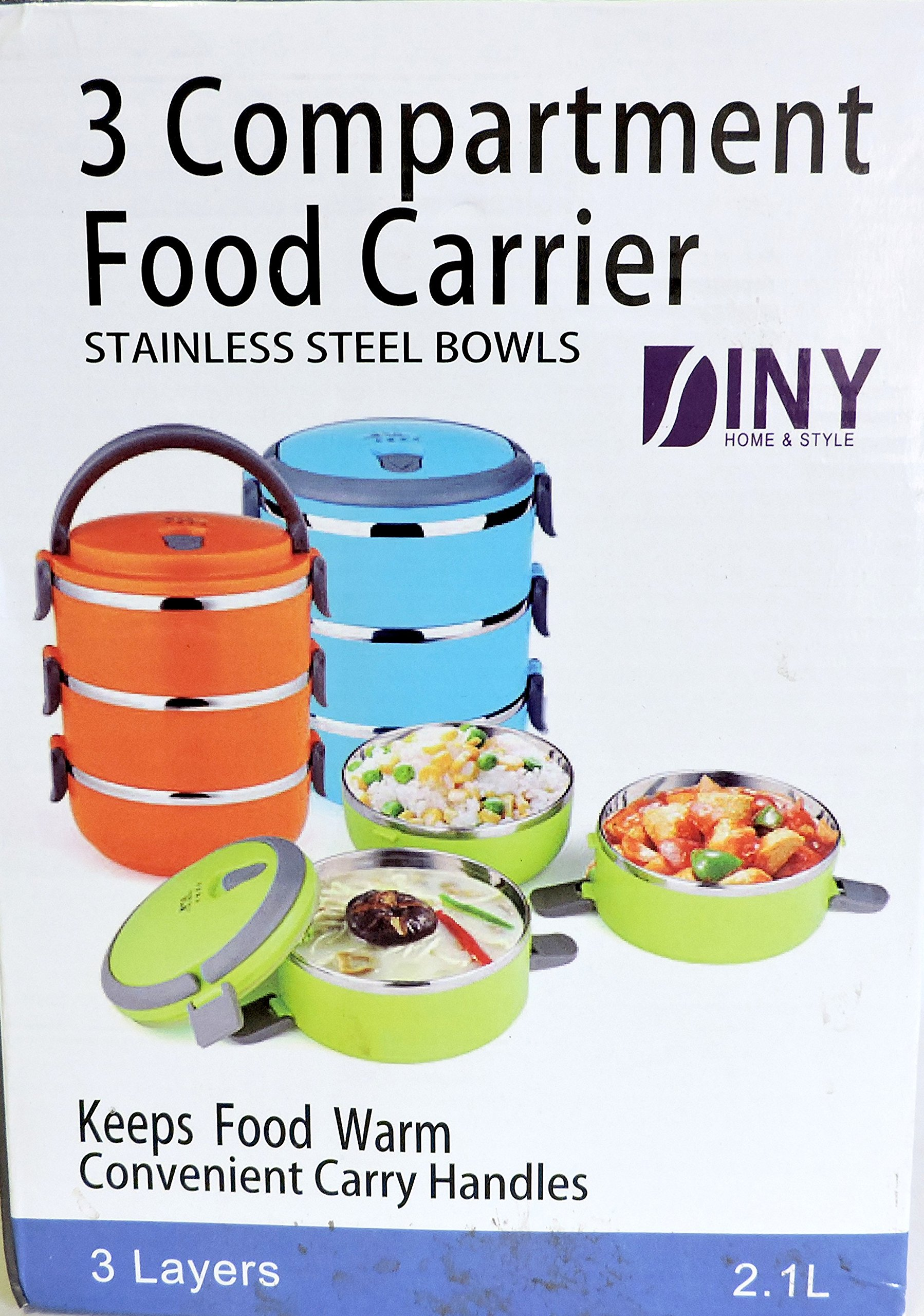 Diny Home 3 Compartment Lunch Box Food Carrier Bento Box Stainless Steel Bowls Keeps Food Fresh Vacuum Sealed Lids (Random Color Shipped)