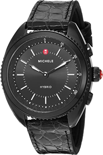 MICHELE Womens Hybrid Smartwatch- Black IP Black Dial Black Alligator And Silicone Hybrid Smartwatch MWWT32A00009