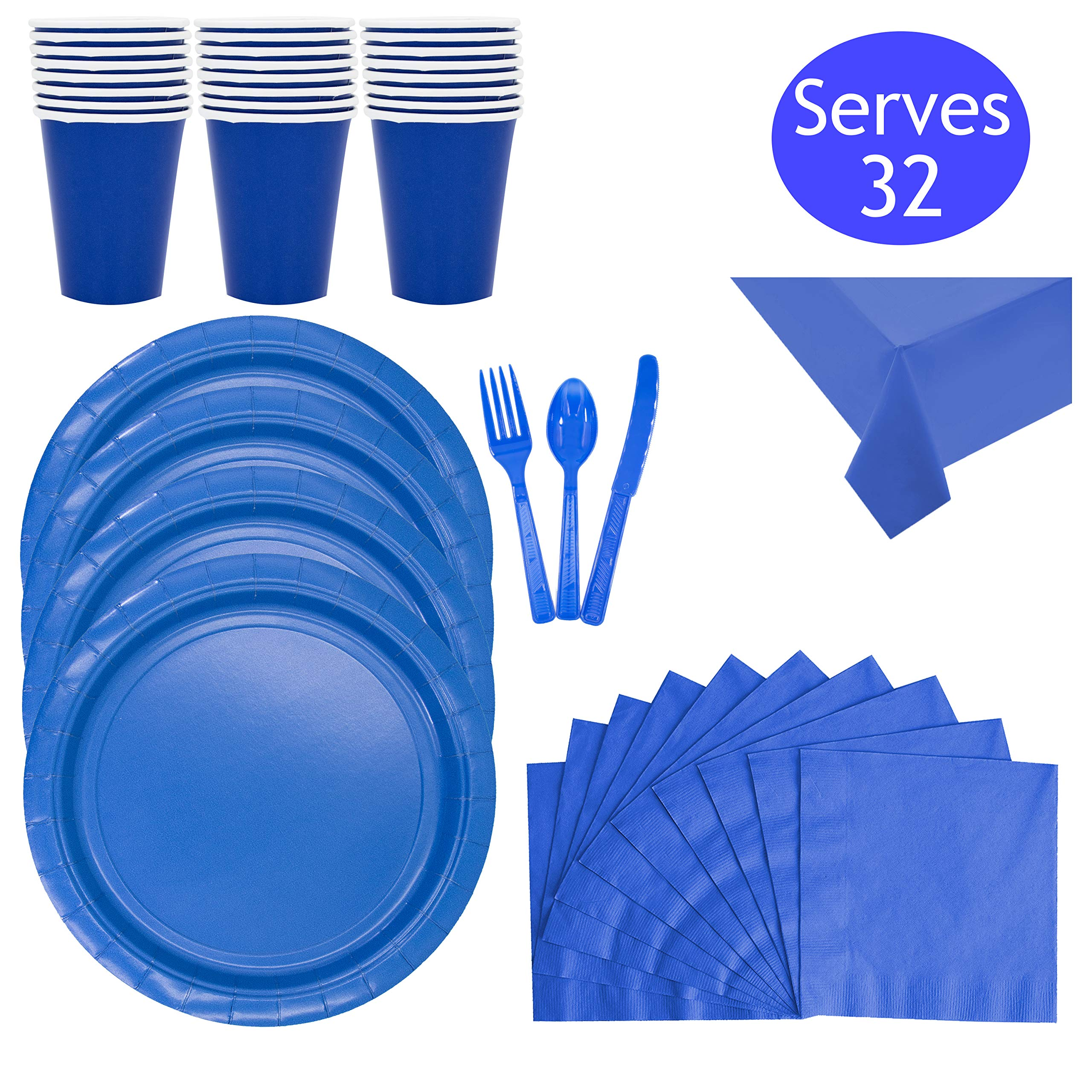 Disposable Blue Dinnerware Party Supplies - Set Serves 32 - Includes Paper Birthday Cups, Plates, Blue Plastic Forks, Spoons, Knives, Napkins and Two Table Clothes