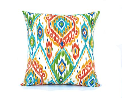 Amazon 40 Ikat Blue Green Red Patterned Pillow Cover 408x408 Awesome Red And Turquoise Decorative Pillows