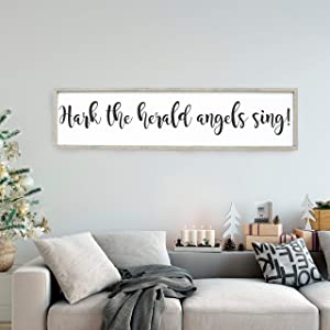 NOT BRANDED Hark The Herald Angels Sing Wood Sign Christmas Wall Art Farmhouse Home Decor Distressed Wood Sign Large Sign Saying Holiday Winter