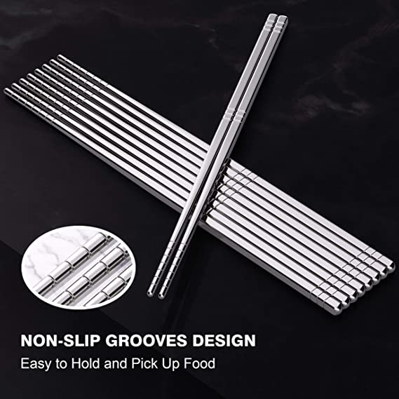 1 Pair Stainless Steel Solid 6cm Chopsticks Kitchen Mode Cooking Non E3B1 M1K0