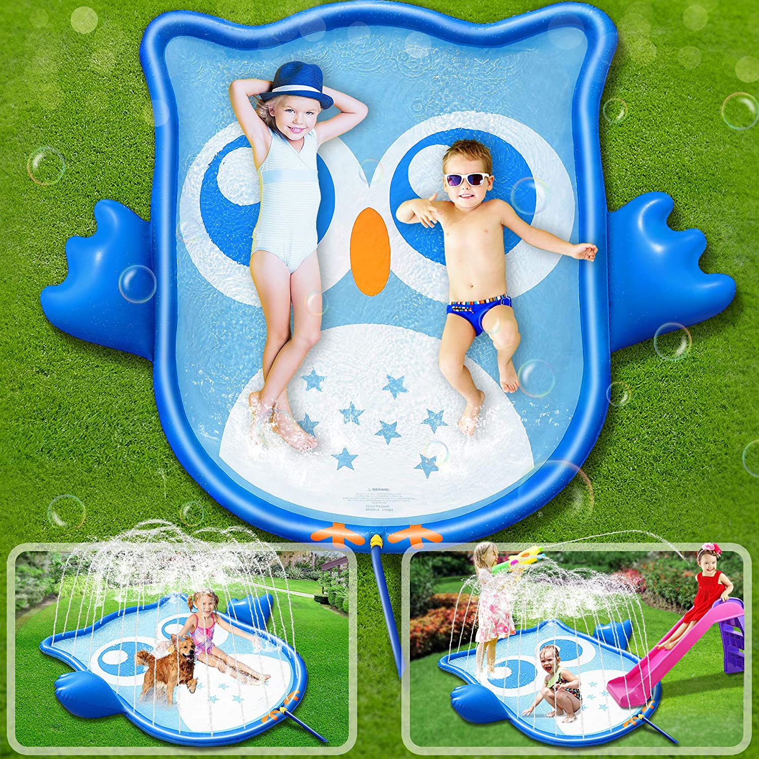 ROYI Sprinkler for Kids, 70''Backyard Blue Owl Fountain Play Mat for Babies Toddlers and Boys Girls Summer Garden Beach Party Water Splash Fun Toys Sprinkler Pool for Kids Wading and Learning