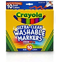 Broad Line Marker Crayola Ultra-Clean Broad Line Bold Colour Washable Markers 10 Pack, (02271)