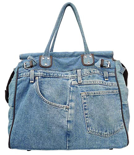 4cdbf8c531 Bijoux De Ja X-Large Blue Denim Double Top Handle Tote Shopper Handbag