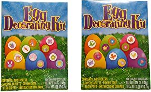 Set of 2 Assorted Easter Egg Decorating Kits! 96 Stickers! Non-Toxic Food Colors - Pink, Blue, Purple, Green, Yellow