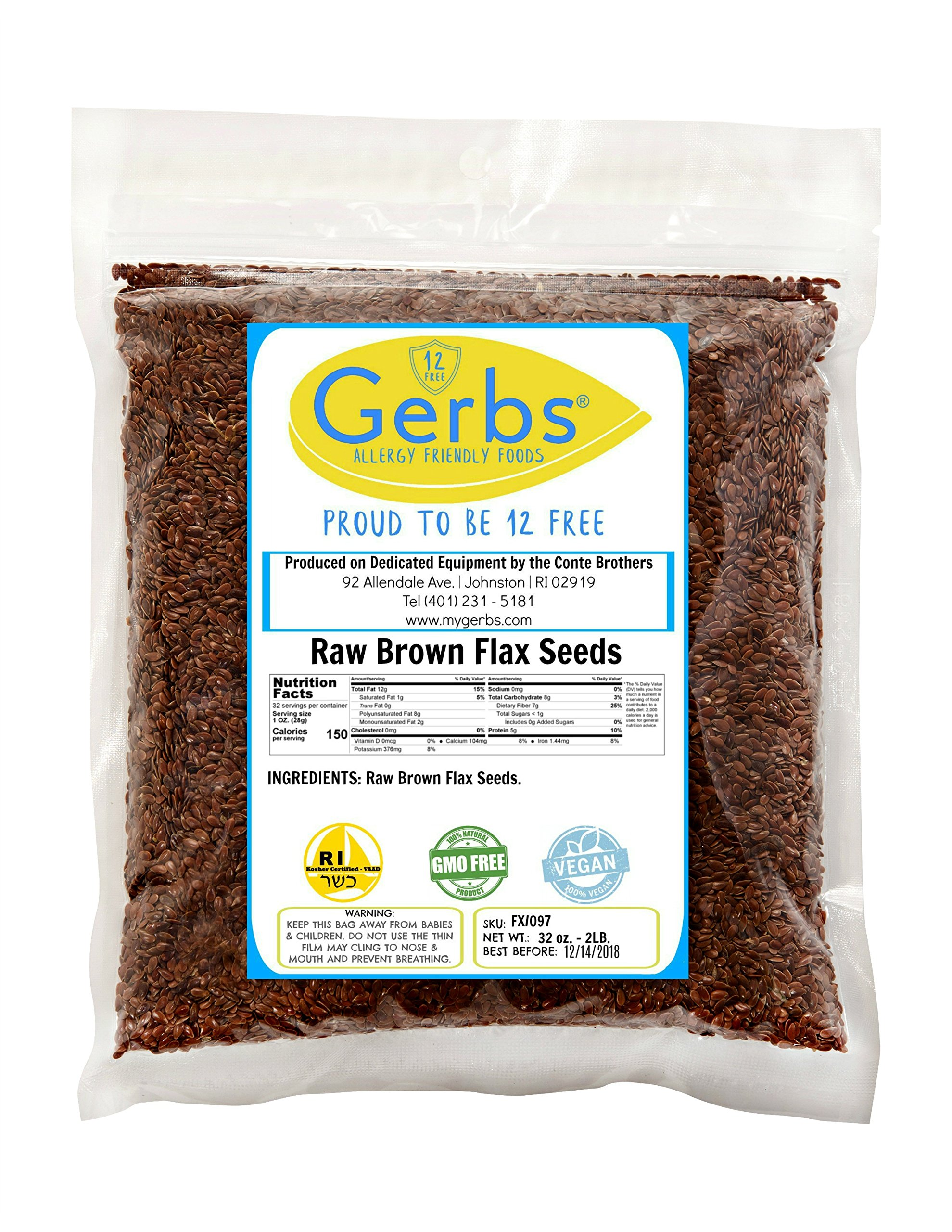 Raw Flax Seeds by Gerbs 2 LBS - Top 10 Food Allergen Free & Non GMO - Vegan & Kosher Premium Brown Flax Product of Rhode Island