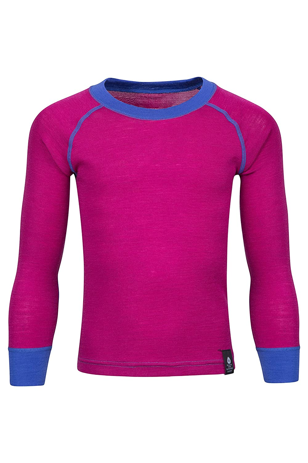 Mountain Warehouse Merino Kids Round Neck Thermal Baselayer Top – Full Sleeves, Light, Breathable, Quick Dry Childrens T-Shirt - for Camping in Cold Weather